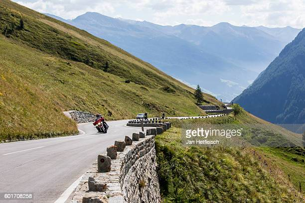 A motorcyclist rides the Grossglockner high alpine road on September 09 near Zell am See Austria The Grossglockner high alpine road is the highest...