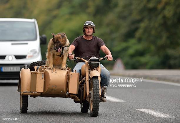 A motorcyclist rides with a dog in his sidecar on September 28 2013 near MontceauxlesMeaux some 60 km east of Paris AFP PHOTO /ERIC FEFERBERG