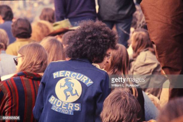 A motorcyclist wearing his 'colors' in the audience at the Altamont Speedway prior to the free concert headlined by the Rolling Stones