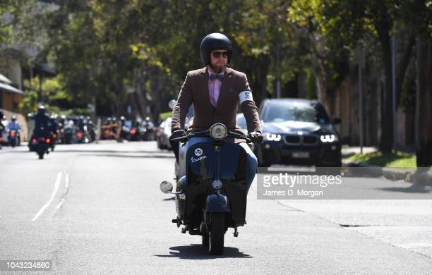 Motorcyclists come down a hill in North Sydney during the ride on September 30 2018 in Sydney Australia The Distinguished Gentleman's Ride is an...