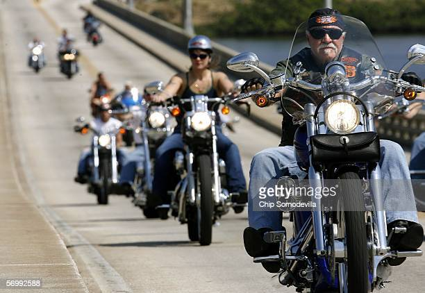 Motorcyclists cross the Main Street Bridge during Bike Week March 3, 2006 in Daytona Beach, Florida. More than 500,000 people are expected to attend...