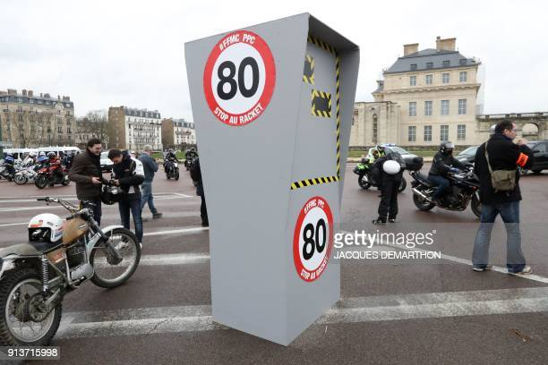 Motorcyclists gather for the French Federation of Angry Bikers' '40 million motorist' demonstration against the lowering the speed limit to 80km/h on...