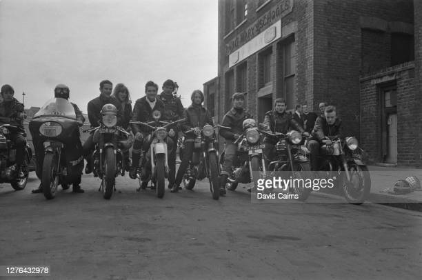 Motorcyclists of the 59 Club outside the organisation's St Mary's Schools premises at Unwin Place in Paddington London March 1966 The club members...