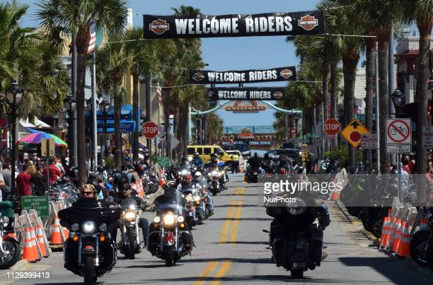 Motorcyclists parade down Main Street on March 8 2019 for the opening day of Bike Week in Daytona Beach Florida The 10day event which draws thousands...