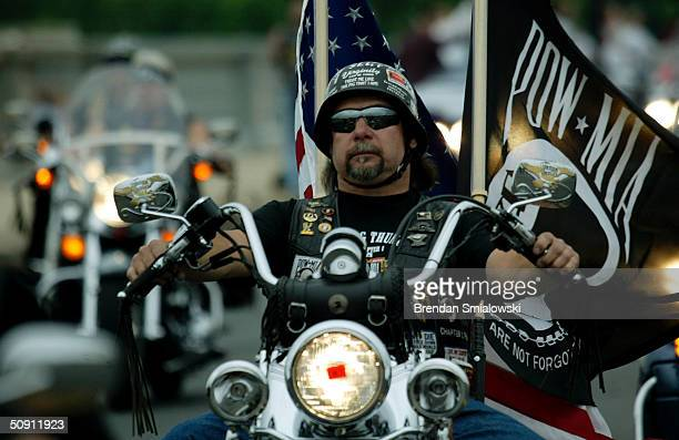 Motorcyclists participating in the 17th annual Memorial Day Rolling Thunder Rally make their way across the Memorial Bridge May 30 2004 into...