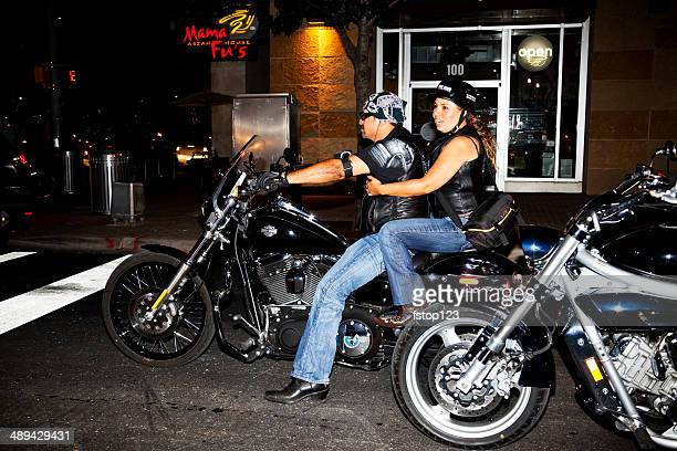 Motorcyclists ride bikes in downtown Austin, Texas. Annual biker rally.