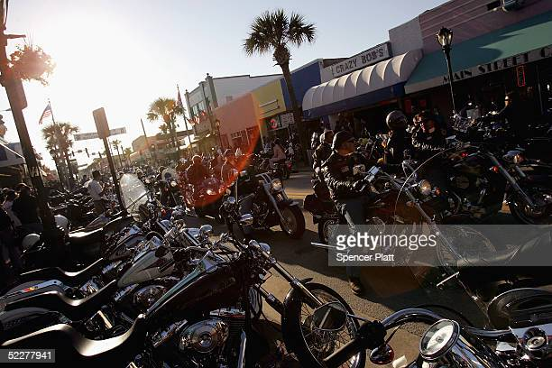 Motorcyclists ride into town during Bike Week March 4 2005 in Daytona Beach Florida The 10day 64th annual Bike Week event will feature numerous...