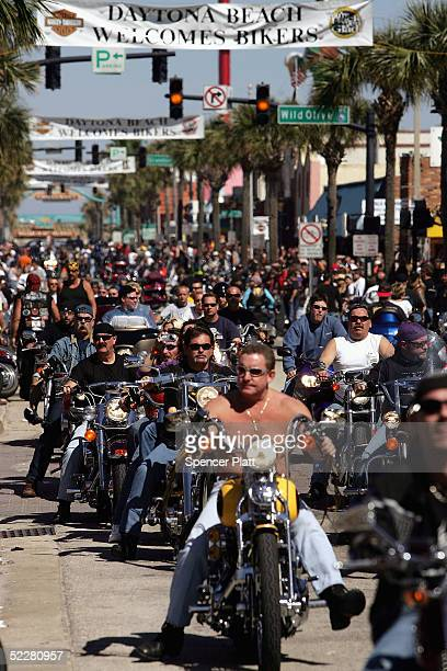 Motorcyclists ride into town during Bike Week March 5 2005 in Daytona Beach Florida The 10day 64th annual Bike Week event will feature numerous...