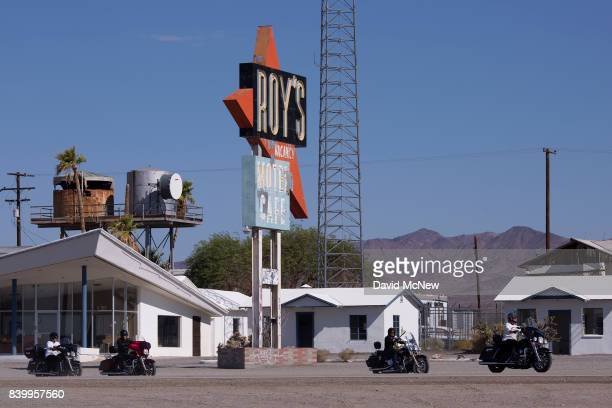 Motorcyclists ride through Amboy on historic Route 66 at Mojave Trails National Monument on August 27 2017 near Essex California The 16 millionacre...