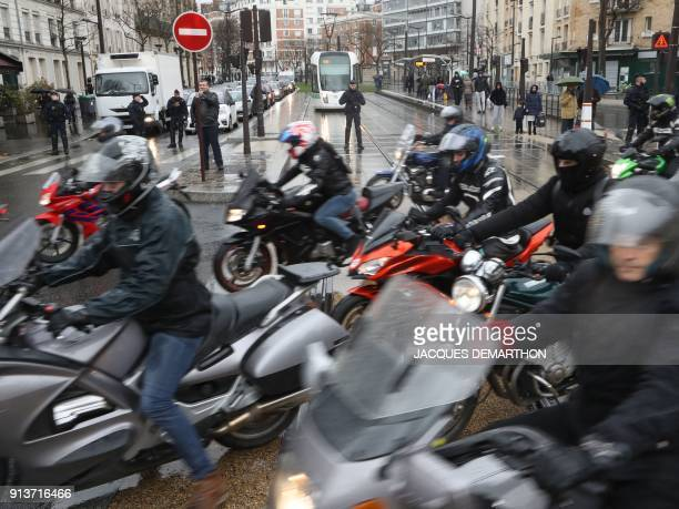 Motorcyclists ride together for the French Federation of Angry Bikers' '40 million motorist' roadway demonstration against the lowering of the speed...