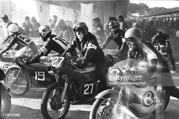 Motorcyclists stand by during the 18th Macau Grand Prix 20 November 1971