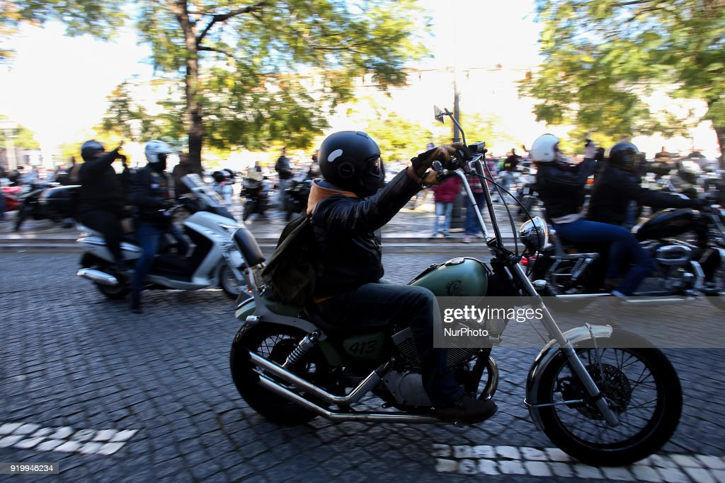 Motorcyclists protest in Lisbon