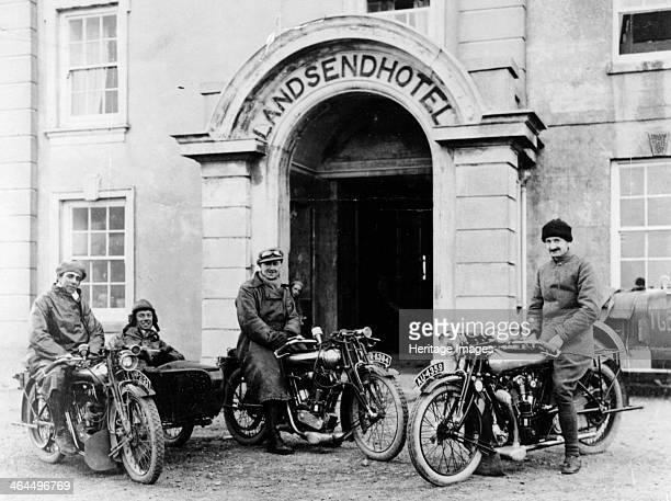 Motorcyclists with Mk1 Brough Superiors outside the Land's End Hotel Cornwall 1921 They are pictured after completing the MCC London to Land's End...