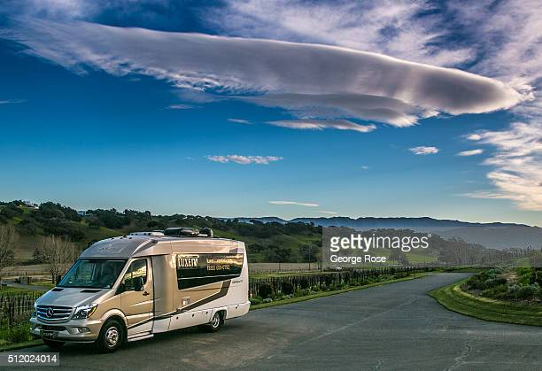 A motorhome and strage cloud is viewed on January 30 2016 in Los Alamos California Because of its close proximity to Southern California and Los...