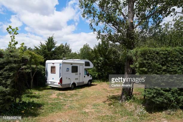 Motorhome is seen at the Monte Holiday campsite on June 13, 2020 in Gargantilla de Lozoya y Pinilla de Buitrago, Spain. The campsite, which had to...