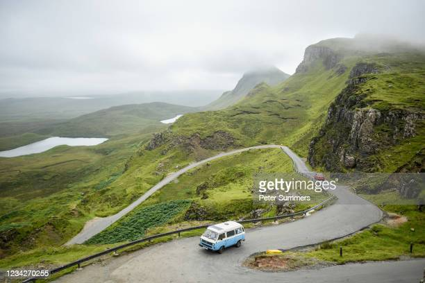 Motorhome is seen driving up the Quiraing on July 26, 2021 in Staffin, Scotland. Skye and Raasay attracted 650,000 visitors in pre-covid 2019 with a...