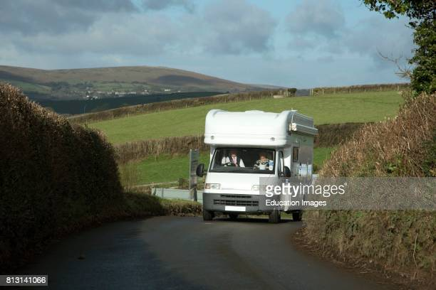 Motorhome on a narrow Devonshire lane in the South Hams district England UK