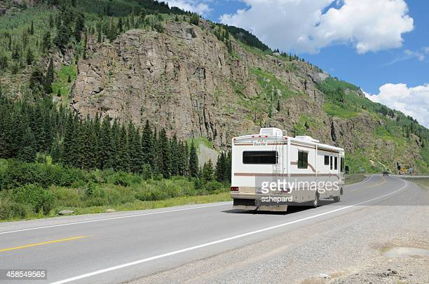 RV motorhome on Million Dollar Highway near Ouray Colorado