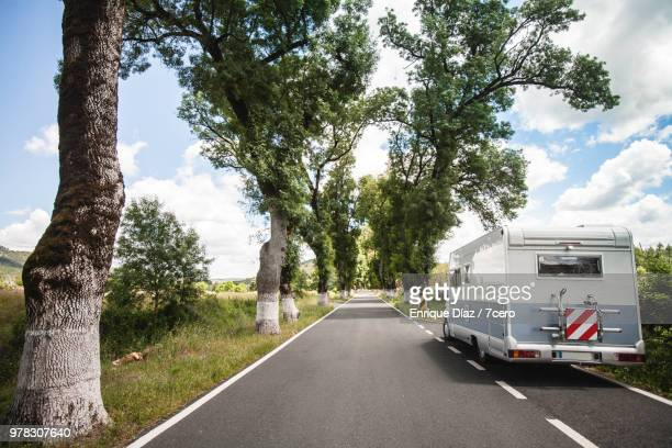 motorhome on open road in portagem - cork tree stock photos and pictures