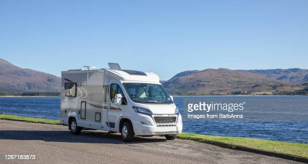 motorhome parked next to lochcarron in the wester ross area of highland, scotland - vacations stock pictures, royalty-free photos & images