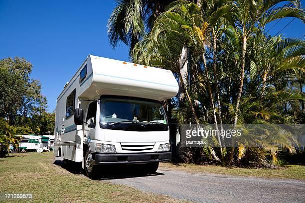 Motorhome RV leaving Caravan Park