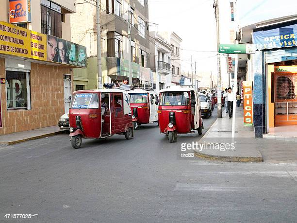 Motorised three wheeler rickshaws in the Peruvian city of Ica
