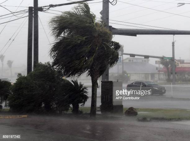 TOPSHOT A motorist drives through heavy rain before the approaching Hurricane Harvey hits Corpus Christi Texas on August 25 2017 Hurricane Harvey...
