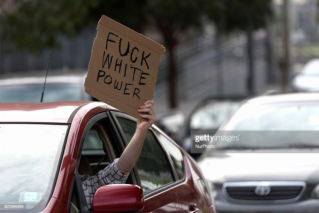 Massive anti-Trump protest in Los Angeles : News Photo