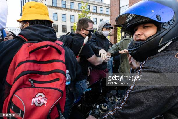 Motorist try to intimidate Black Lives Matter activists at a protest against the police killing of Ma'Khia Bryant. Black Lives Matter activists...