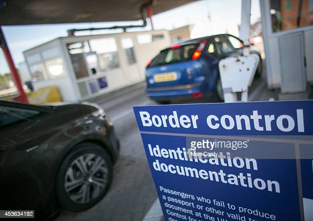 Motorists arrive at the UK border after leaving a crosschannel ferry on August 13 2014 in Portsmouth England Border Force is the law enforcement...