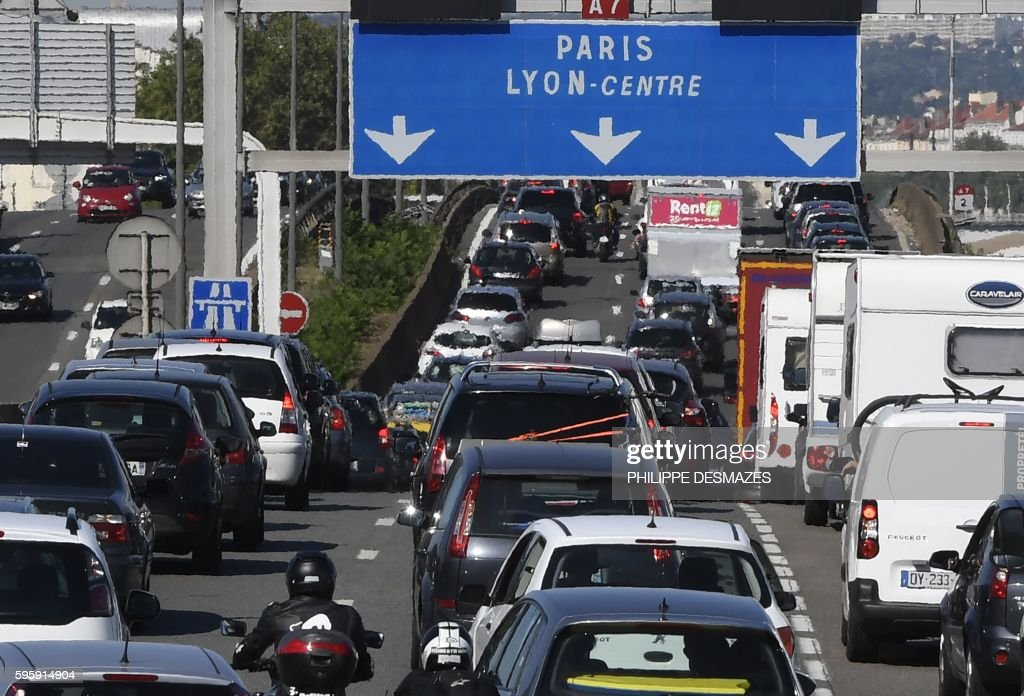 motorists drive in heavy traffic along the a7 motorway south of lyon news photo getty images. Black Bedroom Furniture Sets. Home Design Ideas