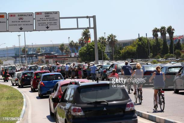 Motorists queue at the border to enter Gibraltar on August 7 2013 in La Linea de la Concepcion Spain Following talks between British Prime Minister...