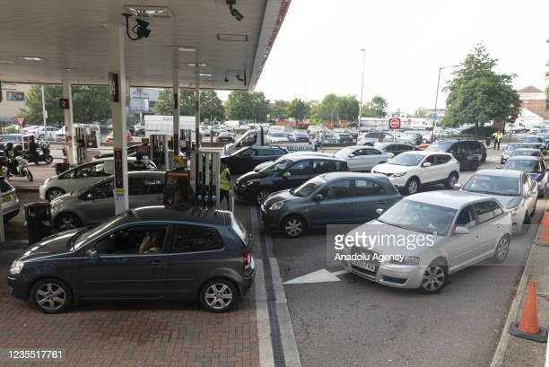 September 26: Motorists queue up for fuel at a Sainsburyâs supermarket petrol station in North West London, United Kingdom on September 26, 2021....