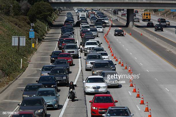 Motorists sit in traffic and head to the Lincoln Avenue exit where all westbound traffic is diverted on the westbound 10 freeway in Santa Monica...