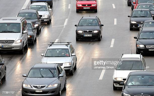 Motorists stuck in a traffic jam at the end of motorway A96 on October 18 2007 in Munich Germany Due to a new strike of the German locomotive train...