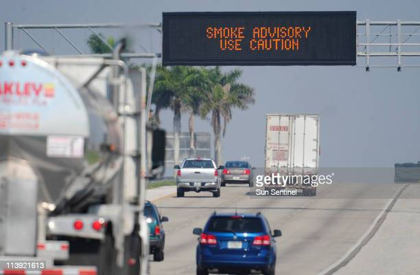 Motorists traveling on I75 westbound near Glades Parkway in Weston Florida are warned about smoke from a fire in Collier County which is limiting...