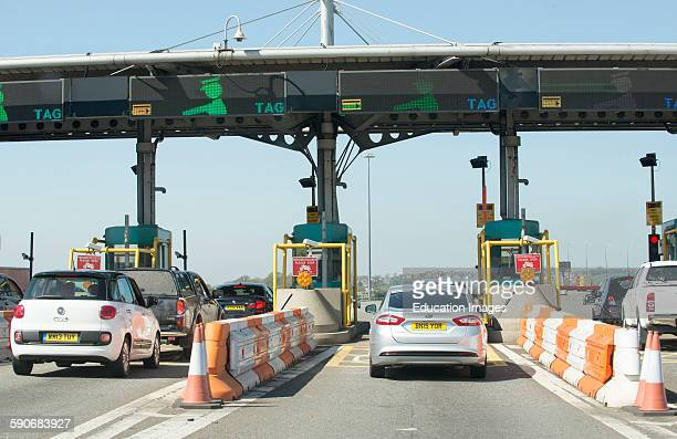 Motorists using toll station at the Severn Bridge M4 motorway crossing