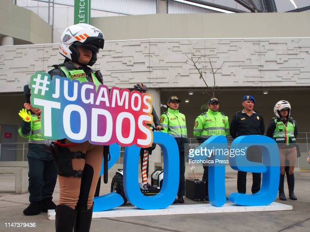 Motorized Police woman with the hashtag #JugamosTodos at the athletic stadium of the venue of the national sports village when the Directorate of...