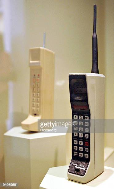 Motorola DynaTAC 8000X the world's first commercially available portable cellular phone right and a 1973 DynaTAC prototype the industry's first...
