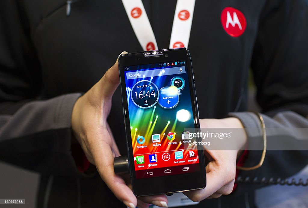 A Motorola Solutions Inc. RAZR HD smartphone is displayed for a photograph at the Mobile World Congress in Barcelona, Spain, on Monday, Feb. 25, 2013. The Mobile World Congress, where 1,500 exhibitors converge to discuss the future of wireless communication, is a global showcase for the mobile technology industry and runs from Feb. 25 through Feb. 28. Photographer: Angel Navarrete/Bloomberg via Getty Images