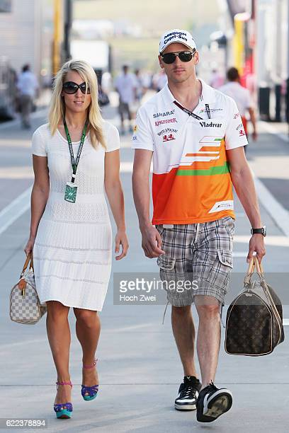 FIA Formula One World Championship 2013 Grand Prix of Hungary #15 Adrian Sutil and his girlfriend Jennifer Becks