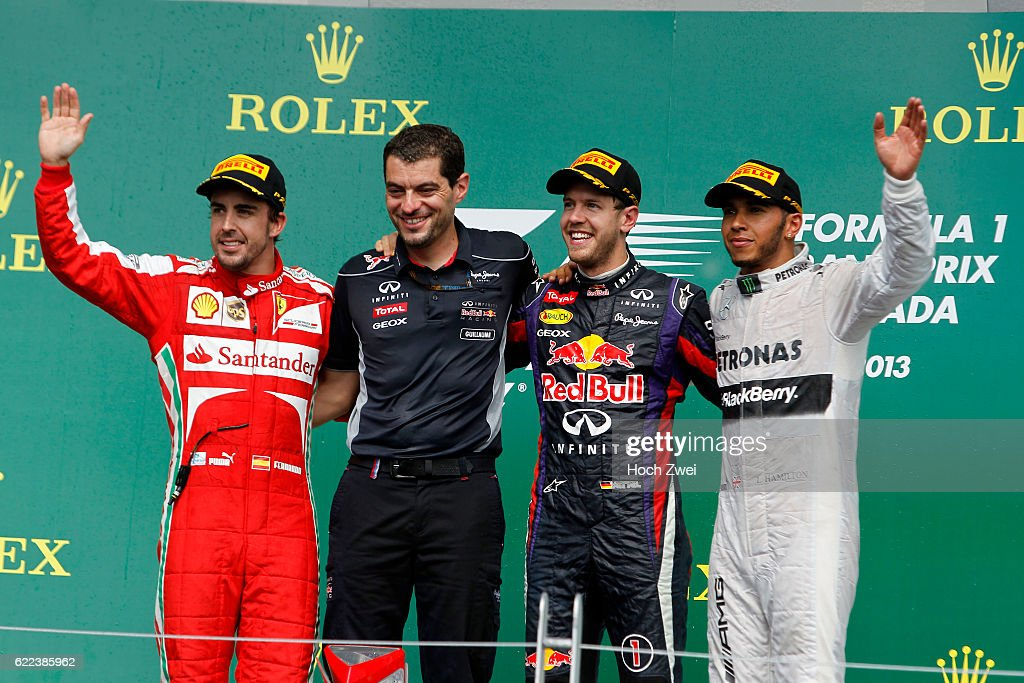 FIA Formula One World Championship 2013, Grand Prix of Canada, #3 Fernando Alonso (ESP, Scuderia Ferrari), Guillaume Rocky Rocquelin (FRA, Infiniti Red Bull Racing), #1 Sebastian Vettel (GER, Infiniti Red Bull Racing), #10 Lewis Hamilton (GBR, Mercedes AMG Petronas F1 Team),