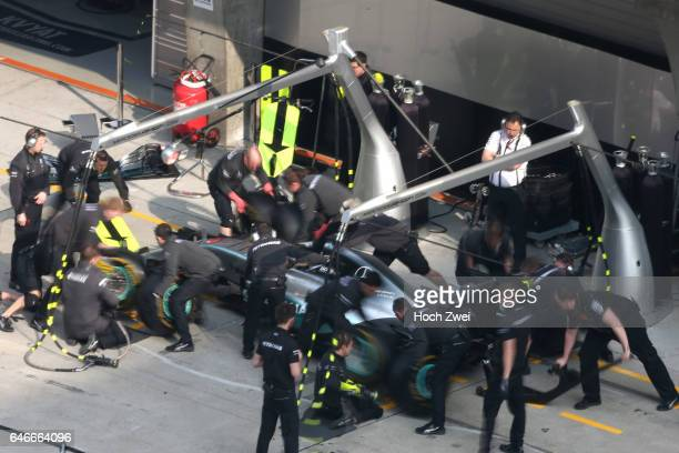 FIA Formula One World Championship 2015 Grand Prix of China pit stop training of Mercedes AMG Petronas Formula One Team