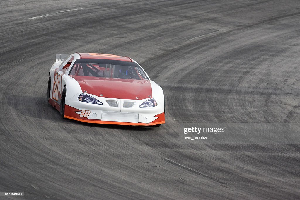 Motorsports-Red and White Race Car : Stock Photo