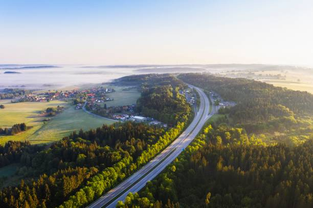 Motorway A95 with Hoehenrain rest stop and village Hoehenrain, drone shot, Upper Bavaria, Bavaria, Germany