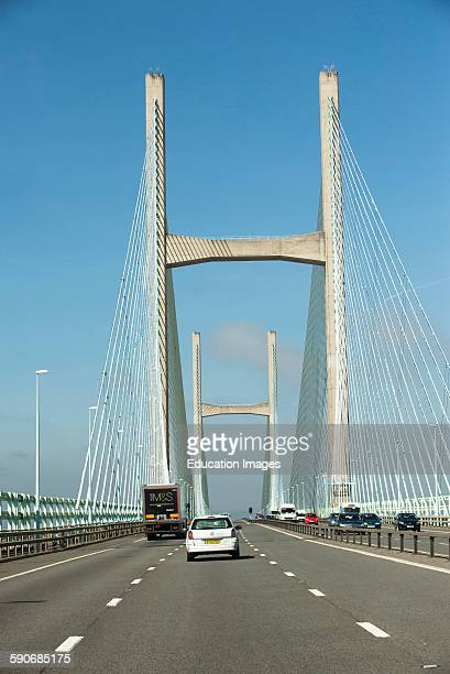M4 motorway and the Severn Bridge which divides England and Wales UK
