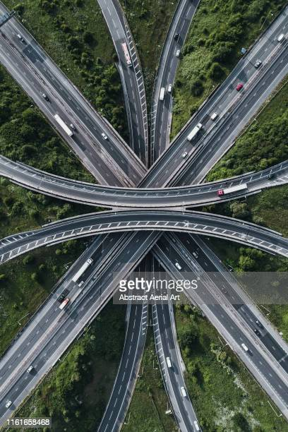 motorway intersection, bristol, united kingdom - drone point of view stock pictures, royalty-free photos & images