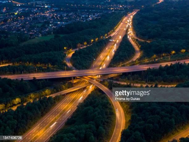 Motorway, junction, M25, evening, night, UK, light, trails, light trails, large, big, transportatiopn..