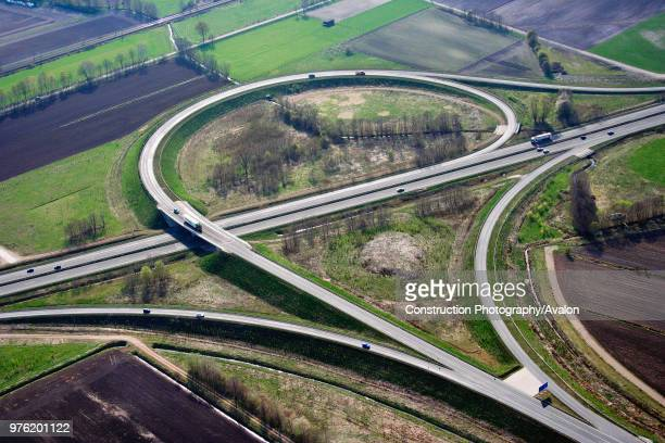 Motorway junction of the A250 and A404 Lueneburg Niedersachsen Germany aerial view