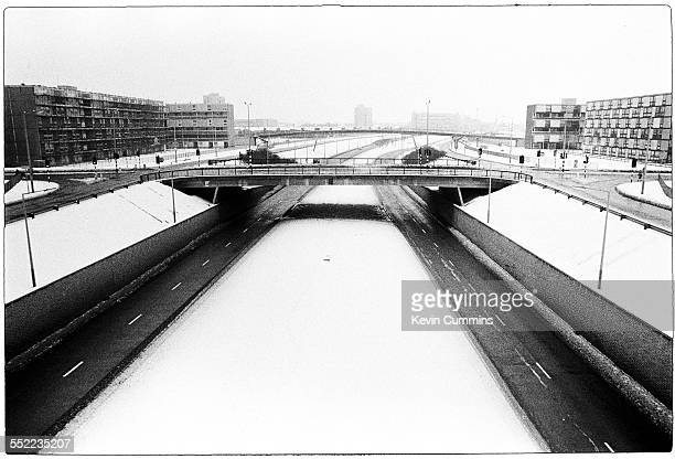 A motorway on a snowy day in Hulme Manchester 6th January 1979